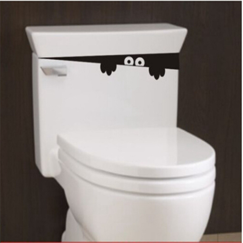 Funny Toilet Peek Sign Sticker: 10PCs/ Lot DIY Funny Peek Monster Toilet Seat Bathroom
