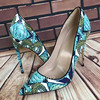 2018 New Hot Fashion Green Print Leather Alligator 12CM Sexy Top Brand Women Pumps High Heel