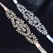 1 piece Handmade Crystal Rhinestone bridal ribbon belt Applique women Hairband Accessories wedding dress decoration