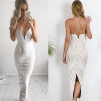 Long Time-limited Plus Size Aliexpress 2017 And Summer Women's New Sexy Backless Dress To European American Foreign Trade