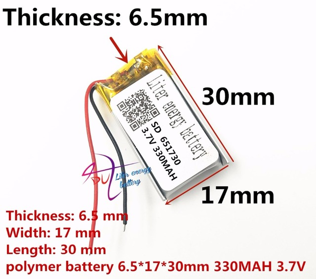 best battery brand 3.7v lithium polymer battery 651730 330MAH small toys MP3 MP4 GPS navigation mobile power