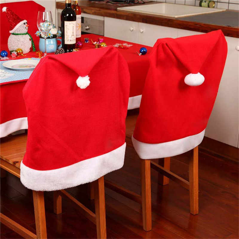1PCS חג המולד קישוט סנטה אדום כובע גב כיסא כיסוי שולחן ארוחת ערב המפלגה גדול שק גרב סנטה קלאוס חג המולד מתנות