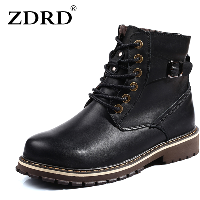 ZDRD 2017  Fashion Ankle Boots Men Winter Genuine Leather Riding Equestrian Boot  Leisure Martin Boots Male England Retro Shoes british style vintage men ankle boots genuine leather male tooling boots riding equestrian lace up autumn winter 2 5