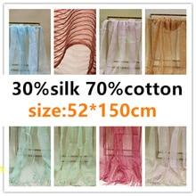 Silk Scarf net scarves 30%silk+70%cotton (52*150cm) women
