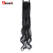 "AOSIWIG 20""/24""/28"" Long Curly 2 Clip In Hair Extensions 1 Piece Synthetic High Temperature Fiber For Women(China)"