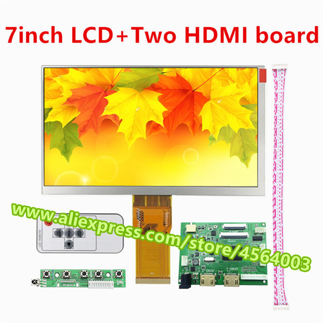 7 pulgadas 1024*600 TFT matriz pantalla IPS LCD HD Monitor 50 pines TTL controlador placa dos HDMI 2 para raspberry pi 3