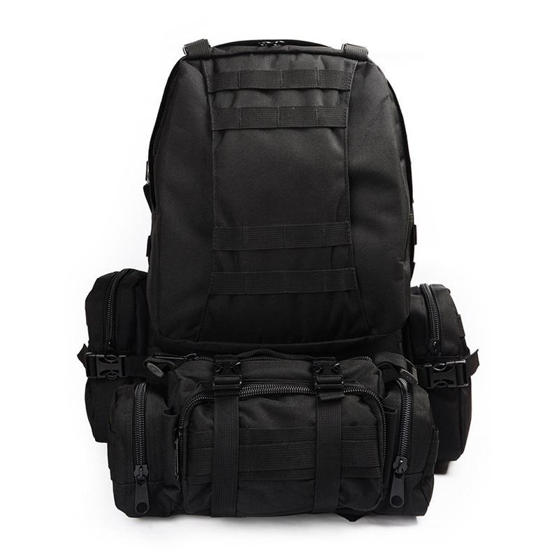 Sac à dos militaire extérieur 50L sac à dos Camping randonnée sac de Trekking (noir)