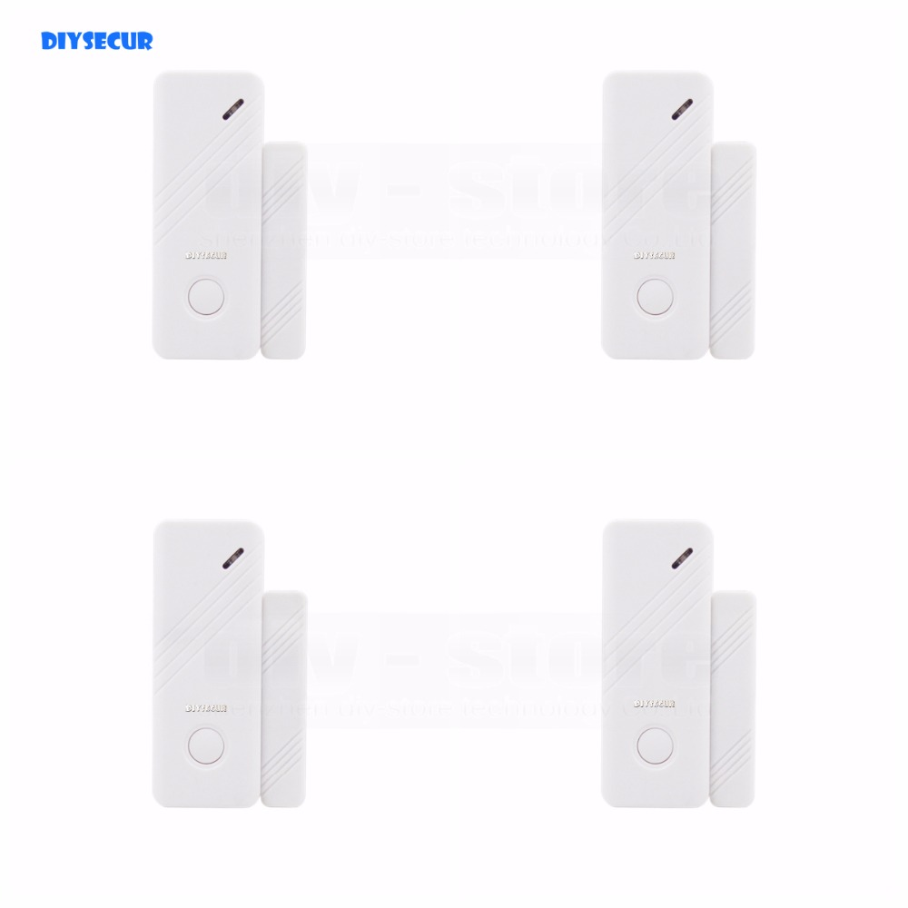 DIYSECUR 4pcs Wireless 433Mhz Door Magnetic Sensor for Our Related Home Alarm Home Security System Gap sensor