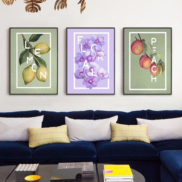 Floral Anemones Lemon Peach Painting Canvas Art Poster Prints Nordic Restaurant Decoration Dining Room Wall Picture