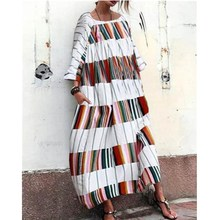 2019 New Women Long Maxi Dress Ladies Casual Long Sleeve Block Color Striped Print Loose Party Dress Vestidos half sleeve color block striped maxi dress