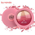 BY NANDA Brand Baked Blush Face Makeup Cheek Color Bronzer Blusher Palette Shimmer Sleek Cosmetic Face Shadow Press Powder