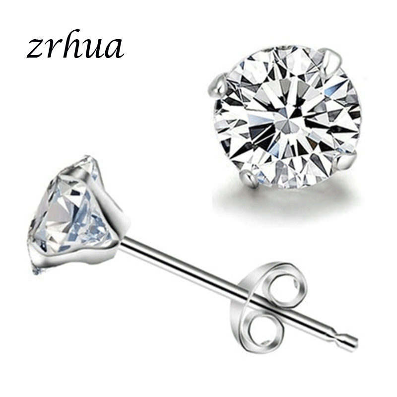 ZRHUA 925 Sterling Sliver Fashion Jewelry 3/4/5/6MM Round 4 Claw Cubic Zirconia AAA Shiny CZ Stud Earrings For Women Girls Gift