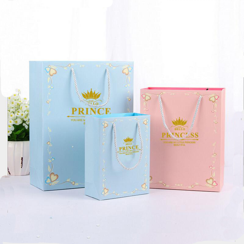 20Pcs lot Flowers Paper Craft Gift Bags Princess and Prince Print Candy Food Hand Bag Christmas Birthday Party Gift Bag in Gift Bags Wrapping Supplies from Home Garden