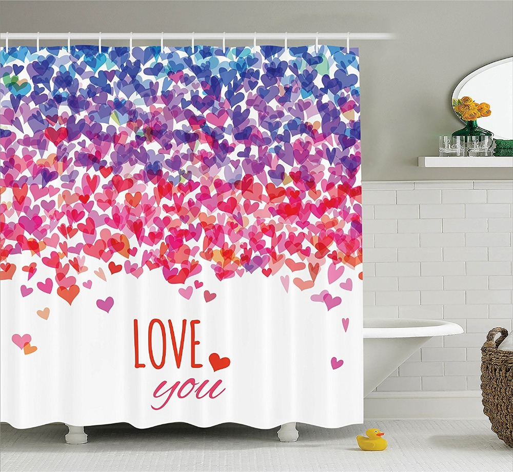 Emojis shower curtains emojis fabric shower curtain liner - Shower Curtains Hearts Love You Message Romantic Valentines Day Print Art Waterproof Polyester Fabric Bathroom Shower