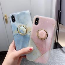 Chic Gold Powder Marble Phone Cases For iPhone X XS MAX XR 6 6S 7 8 Plus Splicing Color Soft Epoxy Ring bracket Back Cover Coque
