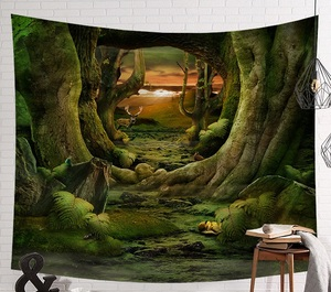 Image 3 - CAMMITEVER Fantastic Scenic Forest Cabin Green Light Big Red Mushroom Hanging Living Print Wall Tapestry Decoration New Tapestry
