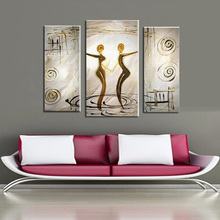 3 Pieces hand painted figures oil painting on canvas modern abstract lover dancer art oil painting wall art pictures