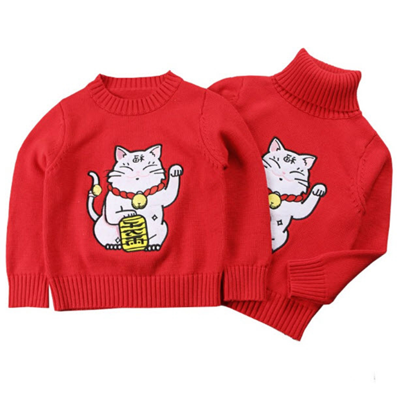 Mother Kids New Year Sewaters Ins Red Knitted Pullovers Lucky Cat Print Mom Daughter Son Family Matching Outfits GW106