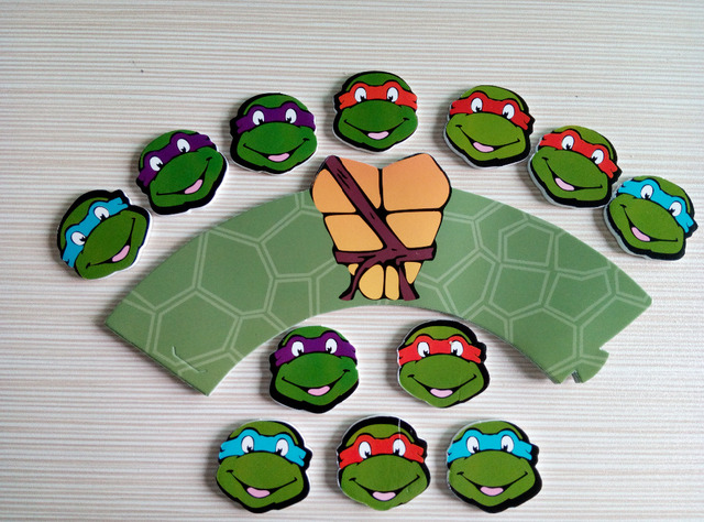 24pc/L Cupcake Wrappers+Topper Teenage Mutant Ninja Turtles Kids DIY Baby  Shower Party