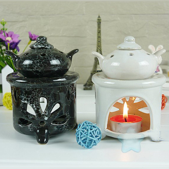 Dia 8.5*10cm Retro European Leaf Carving Essential Oil Heating Burner Ceramic Fragrance Holder Craft Gift DC820 image