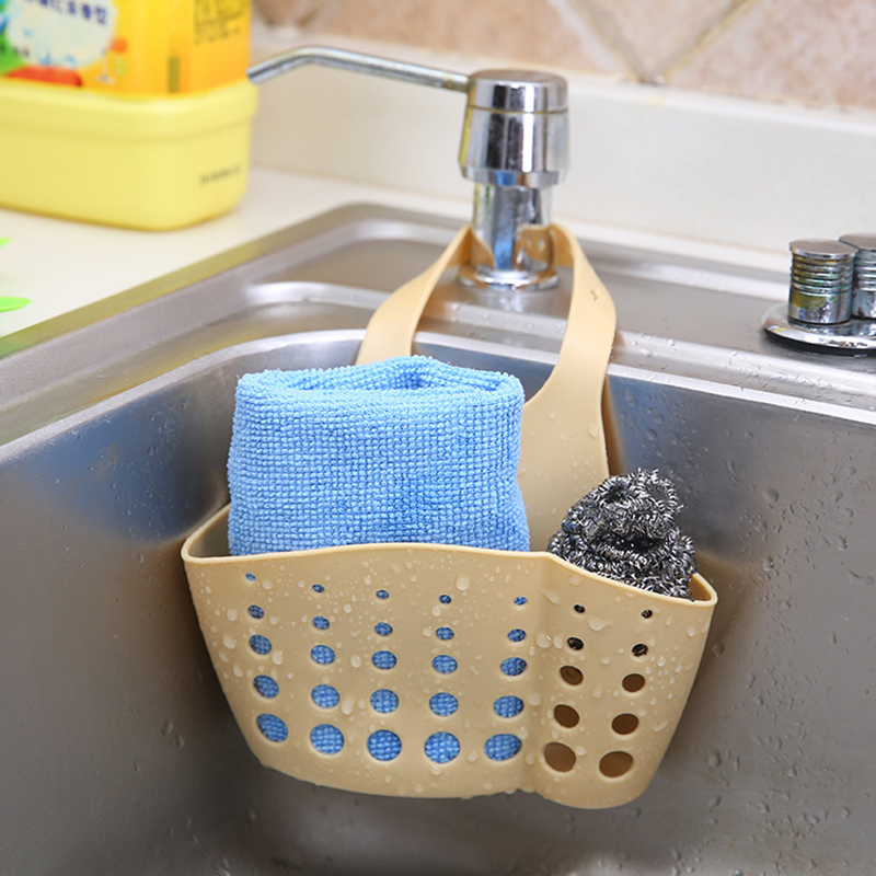 Image 5 - Storage Holder Adjustable Snap Sink Sponge Storage Rack Hanging Basket Bathroom Accessory Kitchen Organizer Hanging-in Bags & Baskets from Home & Garden