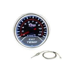Free shipping 2″(52mm) Car Smoke lens Exhaust gas temp gauge EGT 2-12 X100C With sensor /Car Meter/ Auto Gauge YC100061