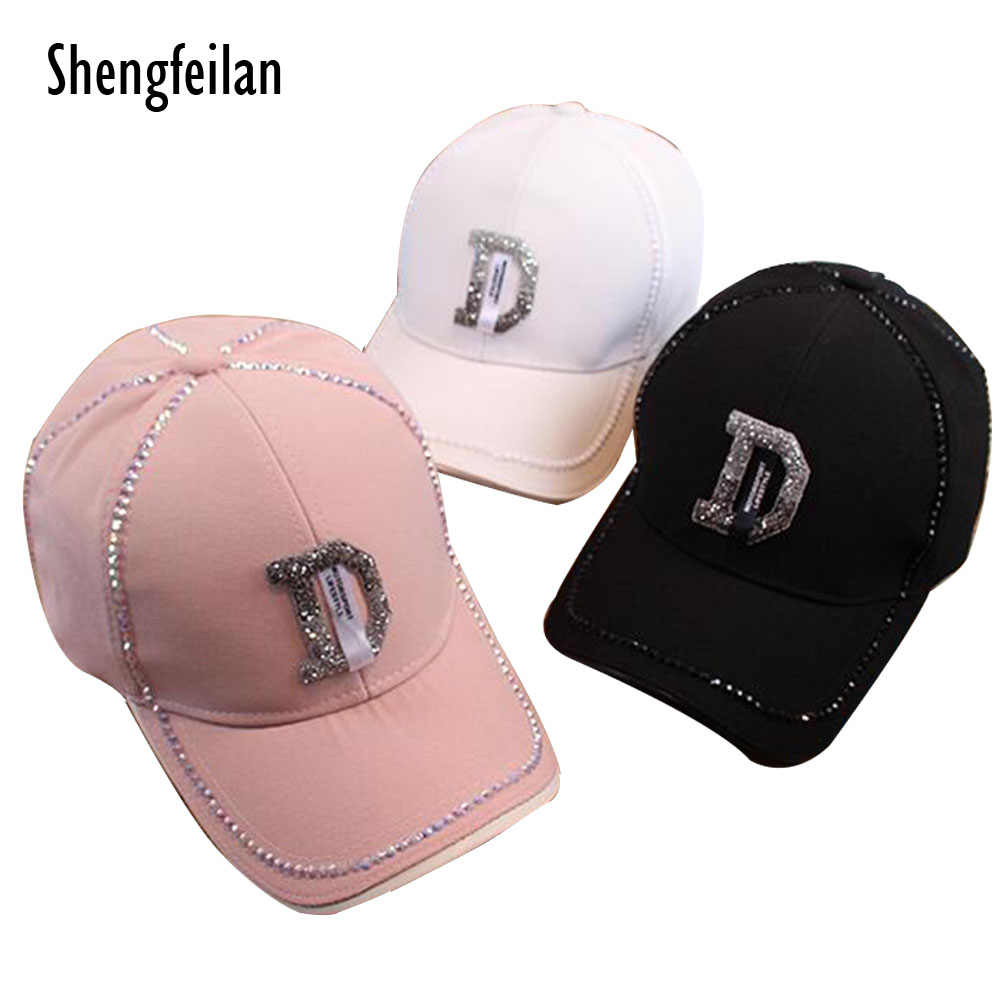 3d31a594 Fashion Rhinestone Hat Women Baseball Cap Girl Boy Snapback Cap letter D Baseball  Hats High Quality
