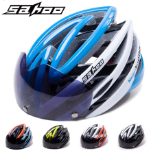 цена на Clearance! SAHOO Cycling Helmet Ultralight Bicycle Helmet With Magnetic Goggles Mountain Road Bike Helmet Integrally Molded