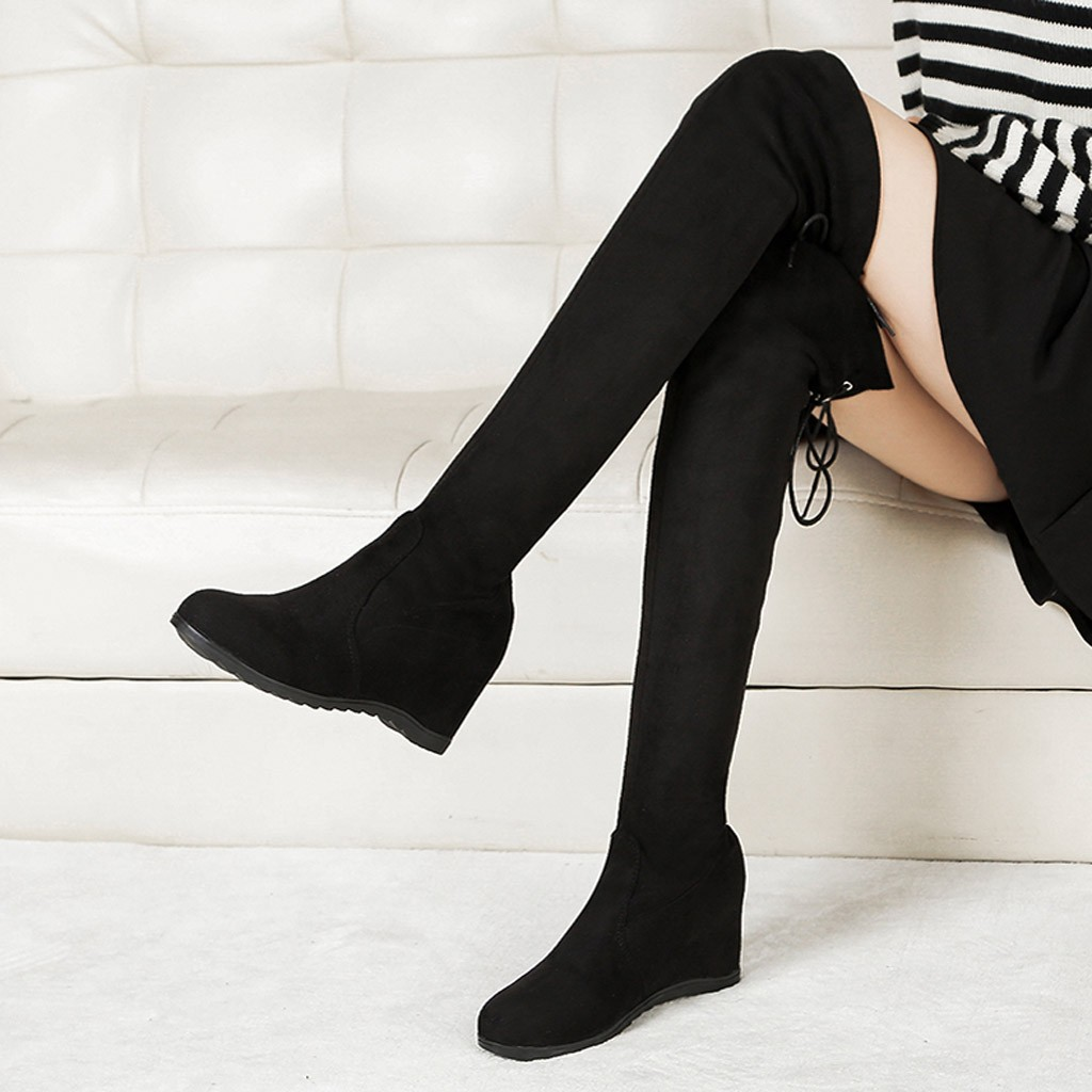 Boots Sock Snow-Shoes Wedges Elastic-Band Long-Tube Low-Heel Over-Knee Winter Women Stylish