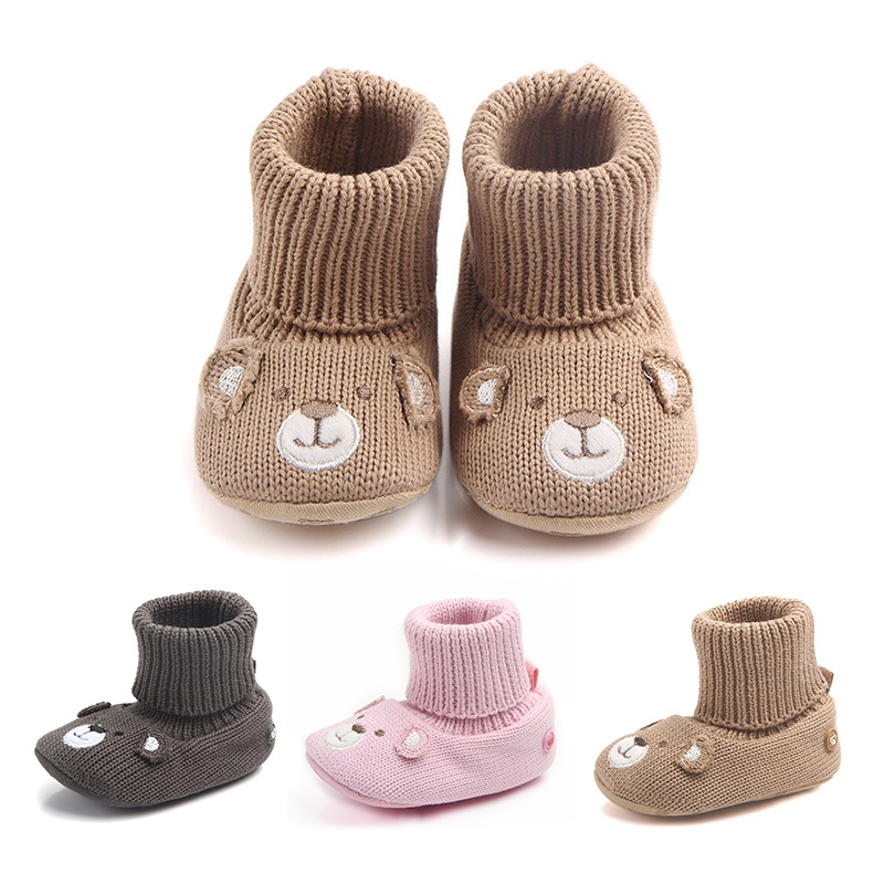 2018 Winter Baby Shoes Boy Girl Cartoon Bear First Walkers Knitted Super Warm  Soft Soles Booties Three Styles