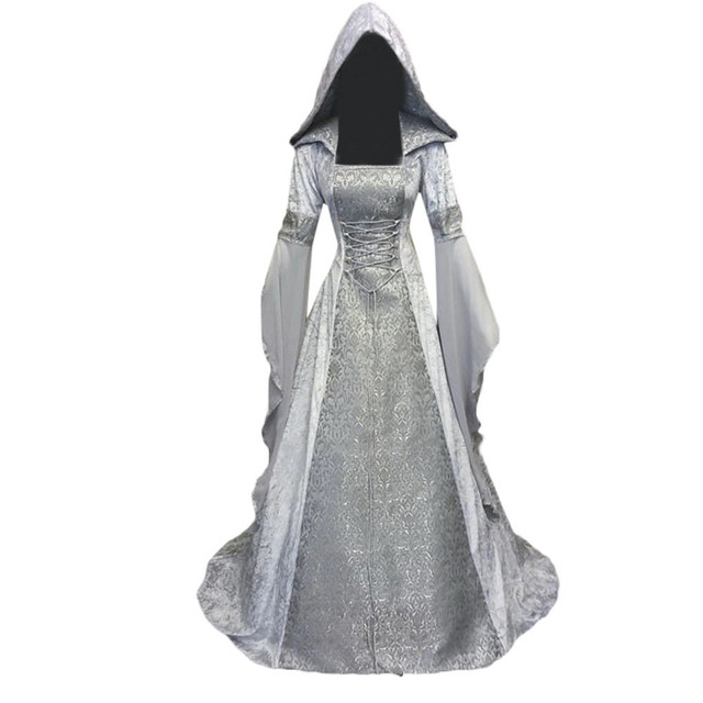 New Womens Fashion Plus Size Long Sleeve Hooded Medieval Vintage Long Maxi Dress