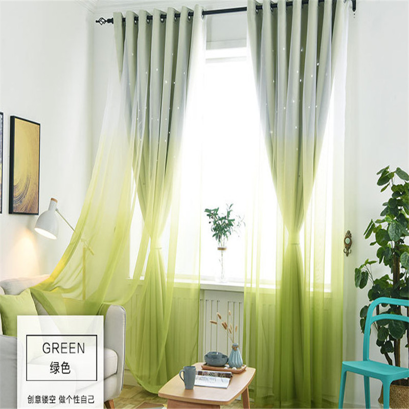 US $6.03 31% OFF|Simple And Fresh Rose Red Gradient Tulle Hollow Star  Curtain Cloth Double Shade Bedroom Living Room Curtain Customization  T003&3-in ...
