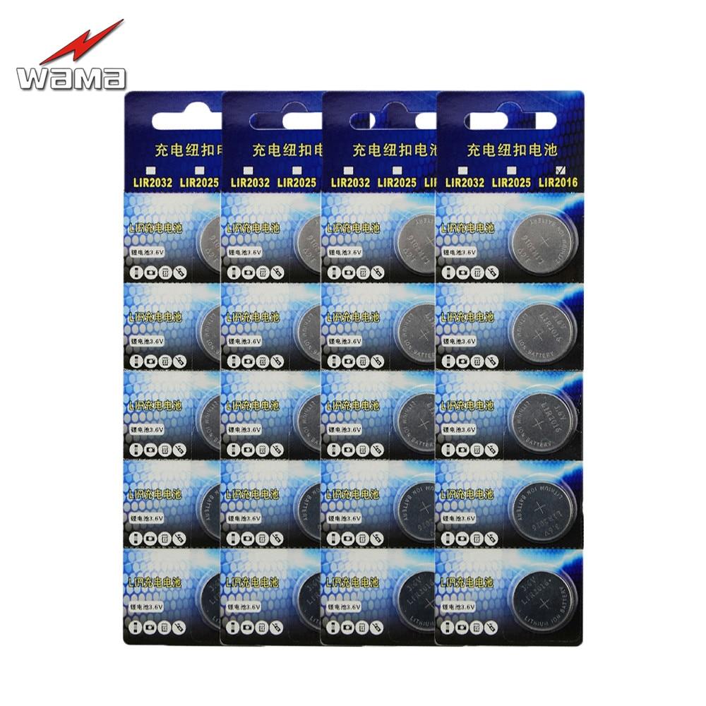 20pcs/4pack Wama Li-ion Rechargeable LIR2016 Button Cell <font><b>Batteries</b></font> Charge 500 Times Replace Remote <font><b>CR2016</b></font> 3.6V Coin <font><b>Batteries</b></font>
