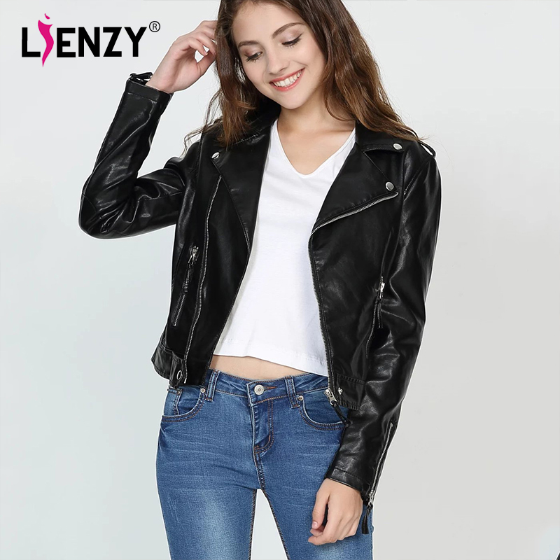 Lienzy Printemps Zipper Pu Cuir En Vêtements Balck Manteau Veste Oblique Les Moto Mode Féminine Pour Femmes wppqr