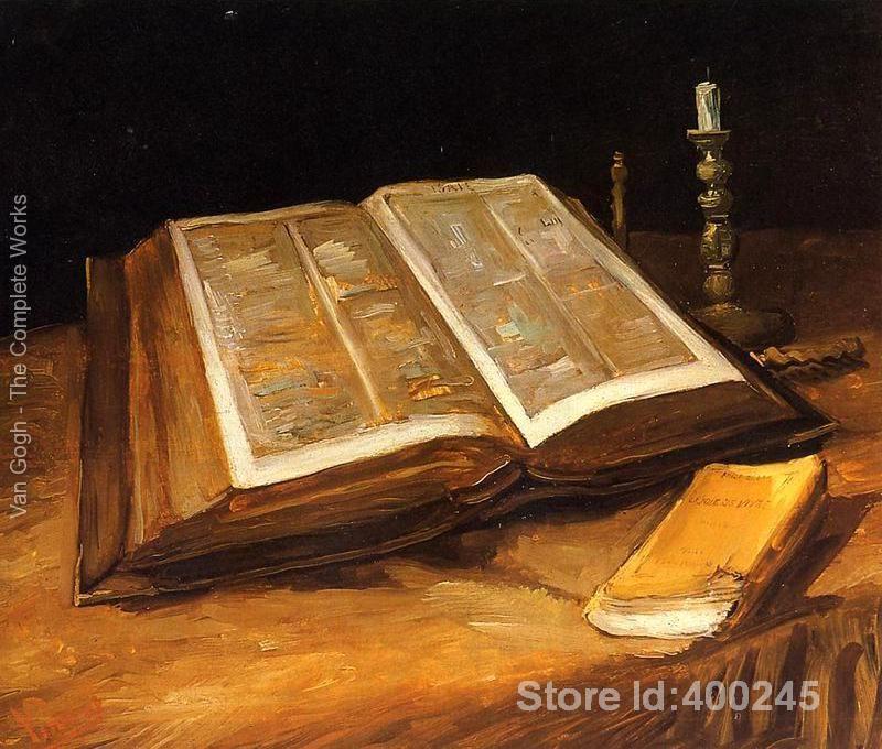 Best Книги по искусству Размножение Натюрморт с Библии Винсент Ван Гог живопись для продажи ручная роспись высокое качество
