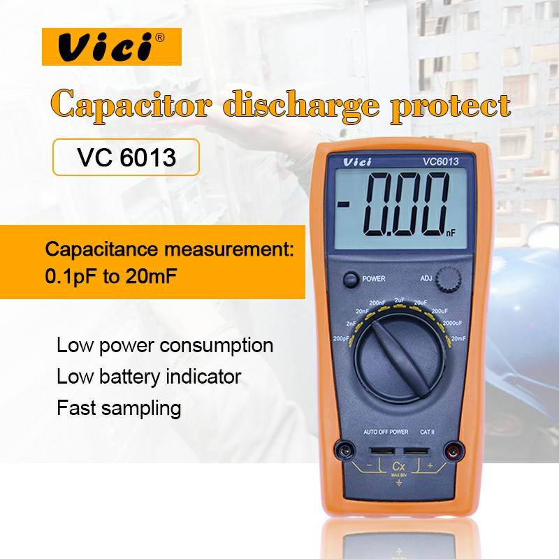 VICI VC6013 Digital multimeter M012 200pf to 20mF discharge digital capacitor / capacitance meter tester tool cnim hot m6013 autorange digital capacitor capacitance circuit tester meter multimeter yellow