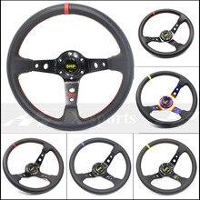 Бесплатная доставка OMP автомобиль Спорт Руль гонки тип высокое качество универсальный 14 дюйм(ов) 350 мм алюминий + ПВХ 4 стиль красный желтый