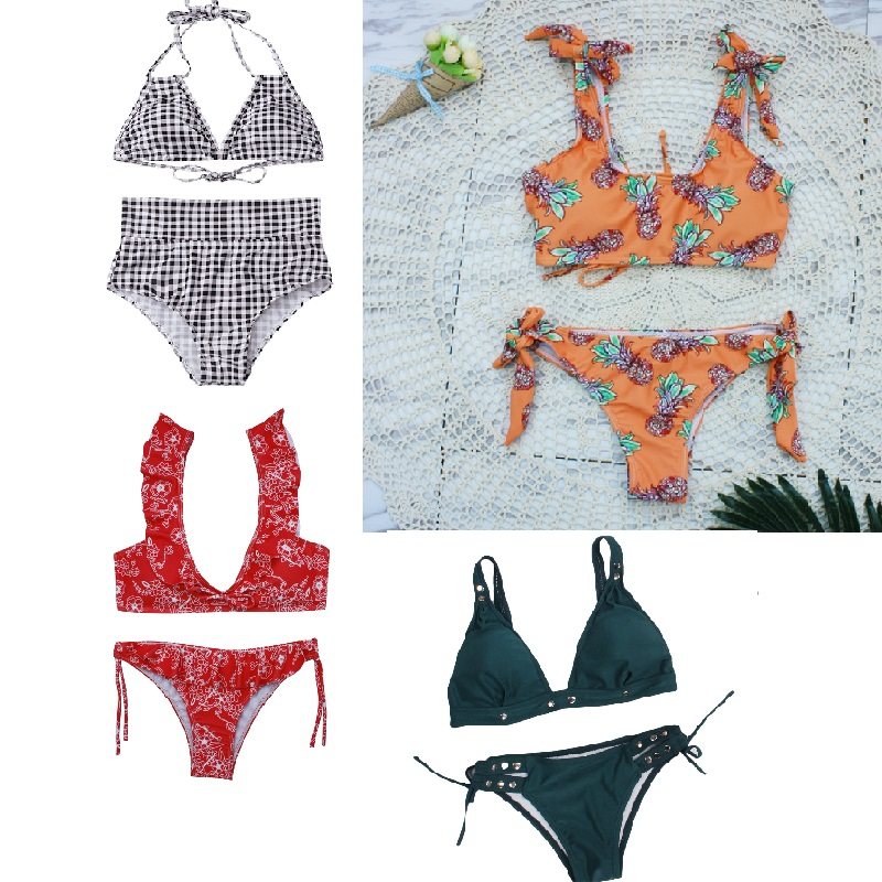 Solid Women Bikini Sets Two Piece Beach Swimming Suits 2018 Brazilian Biquini <font><b>Sexy</b></font> Swimsuits Push Up Female New image