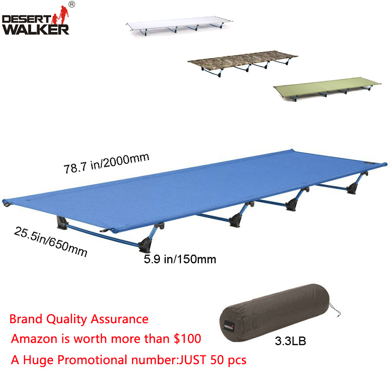 купить 3.3LB Ultralight Folding Cot W65*L200CM Weight Limit of Measure 440LB Perfect Moistureproof Portable and Durable Outdoor Mat Bed недорого
