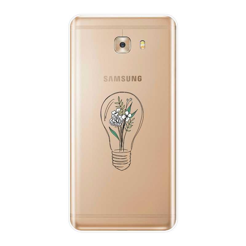 Molle Del Silicone Cassa Del Telefono Per Samsung Galaxy C9 C7 C5 Pro di Arte Del Fiore di luce di Pesce Del Cuore Uccello Della Copertura Posteriore Per samsung Galaxy C5 C7 C8
