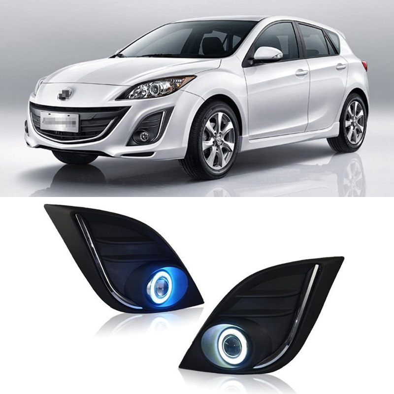 Ownsun Superb 55W Halogen Bulbs COB Fog Lights Source Angel Eye Bumper Cover For Mazda 3 2011-2015 ownsun cob angel eye rings projector lens with 3000k halogen lamp source black fog lights bumper cover for skoda fabia sport