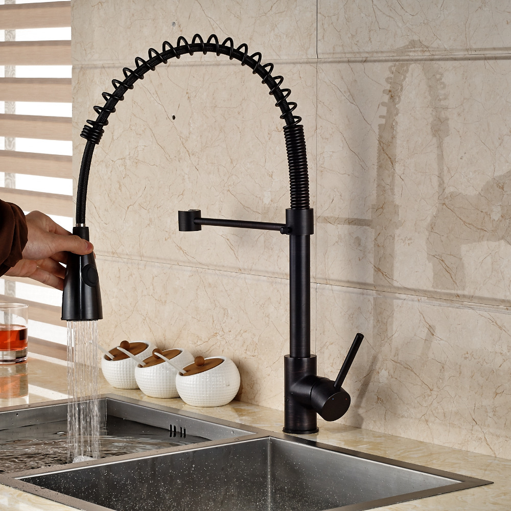 Modern Oil Rubbed Bronze Kitchen Mixer Faucet Spring Swivel Spout ...