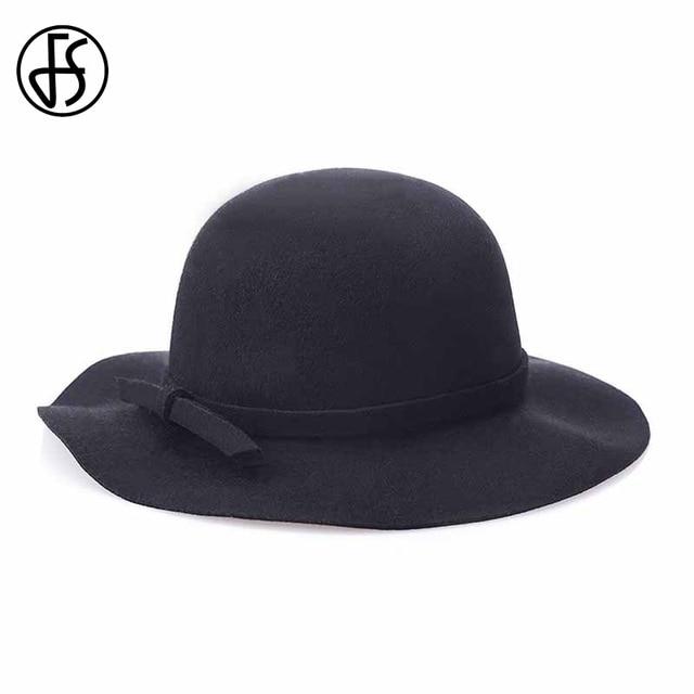 FS New Gray Wool Felt Fedoras Panama Hat Black Wide Brim Bowler Hats For  Women Red 61b6a35cc21