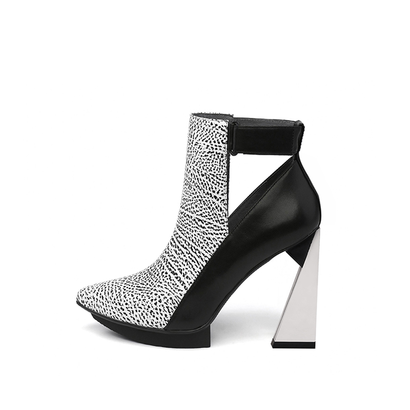 Autumn Boots For Women Ankle Boots Pointed Toe Platform 11cm Extreme High Heels Genuine Leather Boots Women HL119 MUYISEXI