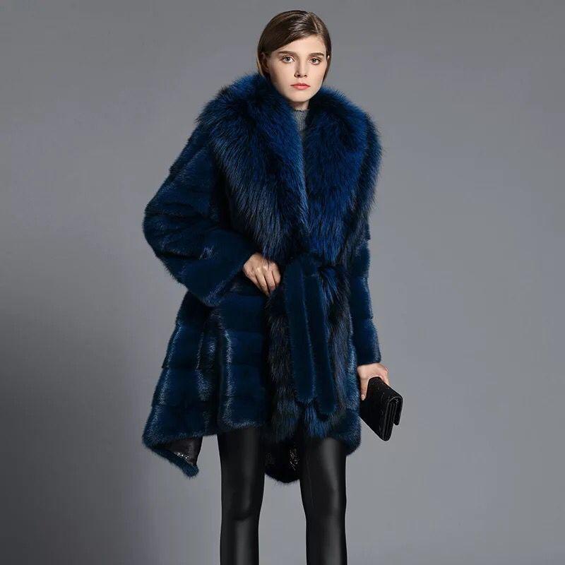 HDHOHR 2019 High Quality Real Mink Fur Coats Full Pelt Fashion Natural Mink Fur Jackets Winter Female With Hood Fur Warm Jacket