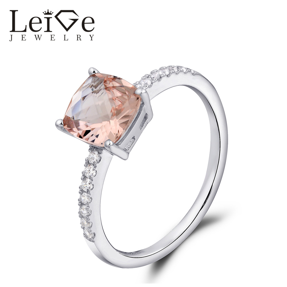 Leige smykker Natural Morganite Promise Ring Solitaire Pink Gemstone - Fine smykker