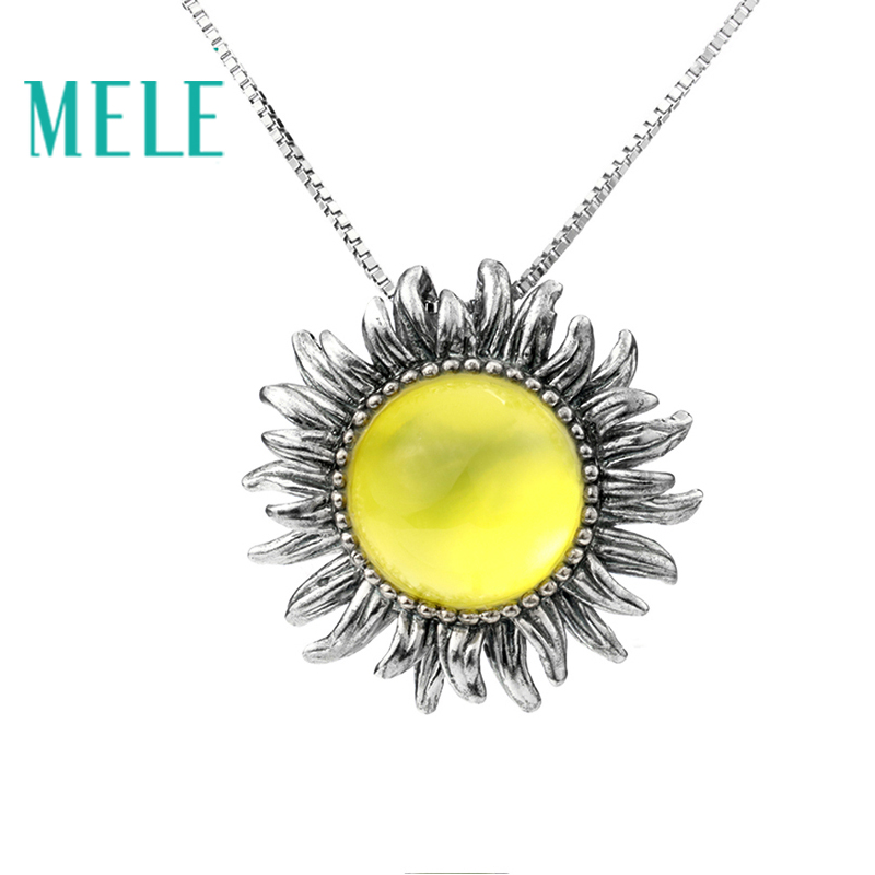 MELE Natural yellow prehnite silver pendant round 12mm for stone size deep yellow color flower design