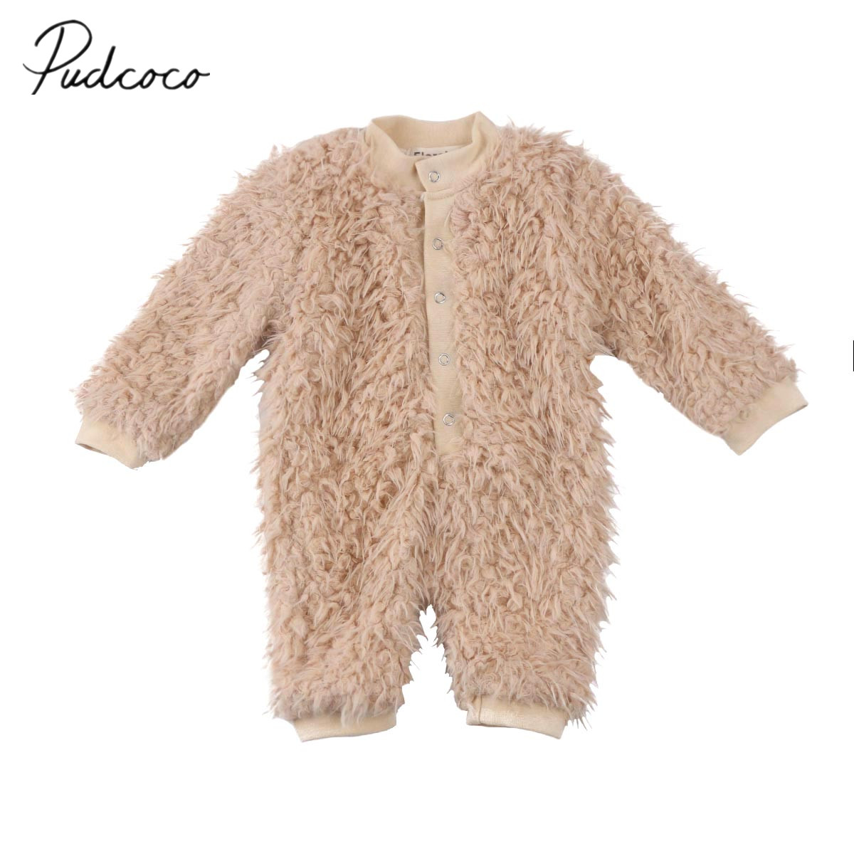 2017 Brand New Newborn Toddler Infant Baby Boys Girls Winter Clothes Fleece Romper Warm Jumpsuit One Pieces Camel Solid Outfits hhtu 2017 infant romper baby boys girls jumpsuit newborn clothing hooded toddler baby clothes cute elk romper baby costumes