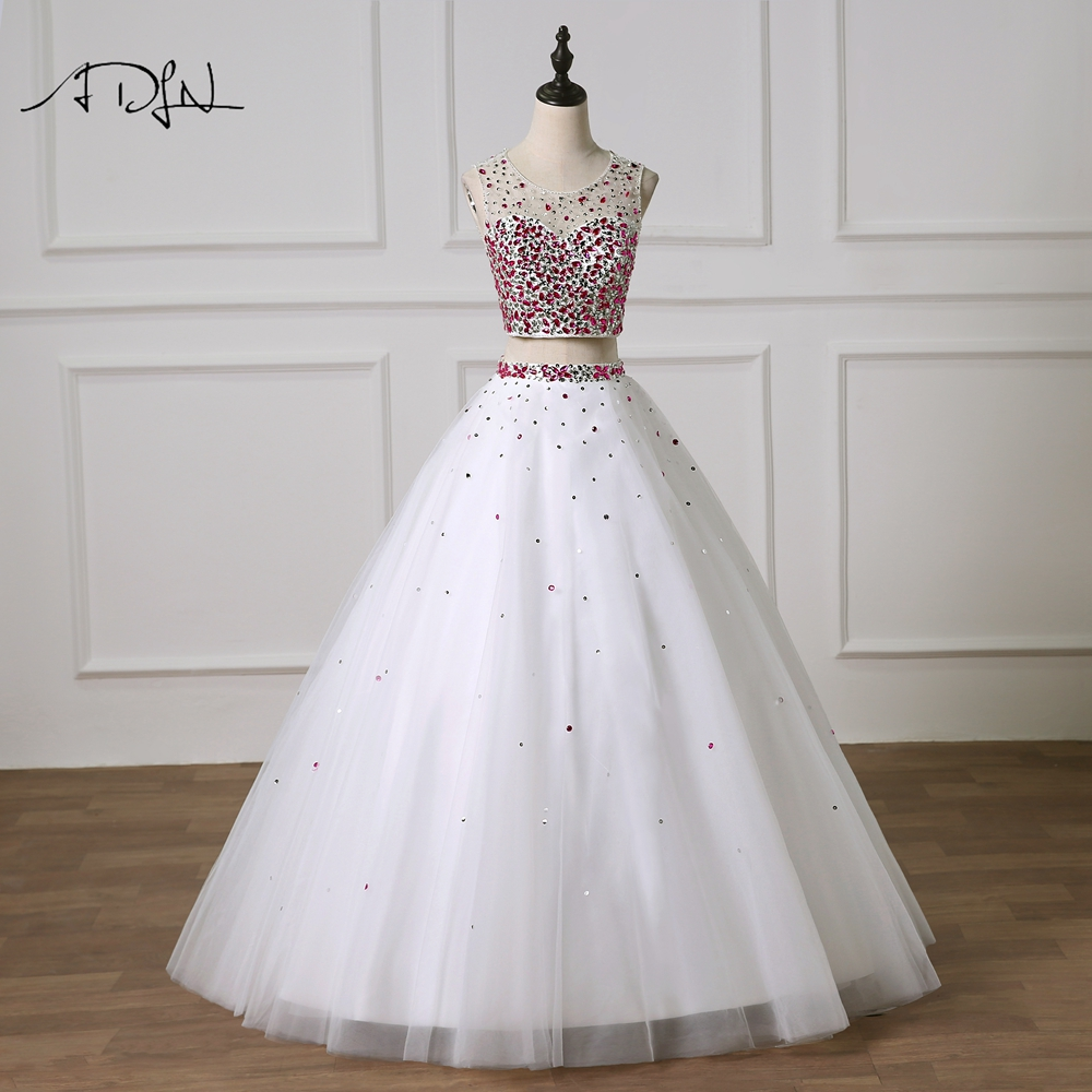 ADLN Two Pieces Quinceanera Dresses Luxury Rhinestones White Masquerade Gown Debutante Prom Dress Customized Sweet 16 Dress