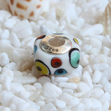 hot deal buy 925 sterling silver charm beads with four sides of the color circle glass charms compatible fit troll european brand bracelet